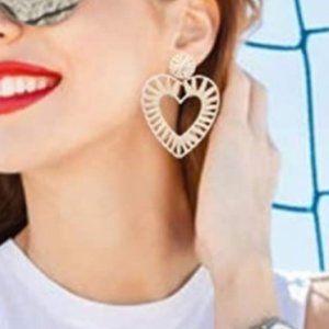 AMRITA SINGH Heart Drop Raffia Earrings